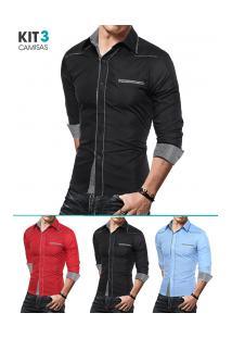 Kit 3 Camisas Masculinas Slim Com Detalhes Xadrez Manga Longa - Azul Claro, Preto E Vermelho