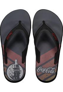 Chinelo Coca Cola Deck Barrel Cinza E Preto