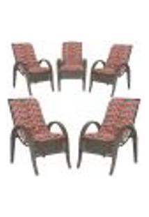 Cadeiras 5Un P/ Jardim Lazer Edicula Varanda Descanso Fibra E Tramas Napoli Plus Pedra Ferro A19