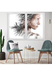 Quadro Love Decor Com Moldura Chanfrada Efeito Árvore Mulher Branco Médio
