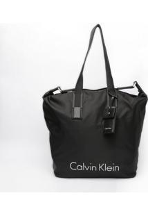 """Bolsa Com Recortes """"Calvin Klein""""- Preta & Branca- 4Calvin Klein"""