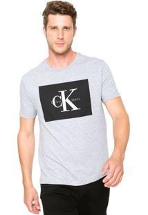 Camiseta Calvin Klein Jeans Reta Cinza