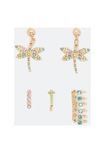 Kit 1 Par De Brinco De Libélula Com Strass E 3 Piercings De Strass | Accessories | Dourado | U