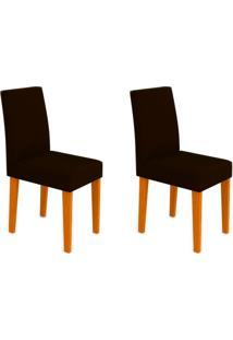 Conjunto Com 2 Cadeiras Giovana Ipê E Marrom Escuro