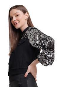 Jaqueta Zinco Cropped Composê De Tecidos Preto