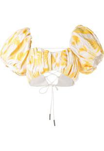 Acler Blusa Cropped Com Bordado De Folha Bastia - Amarelo