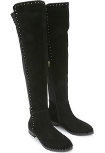 Bota Couro Over The Knee Shoestock Flat Feminina - Feminino-Preto