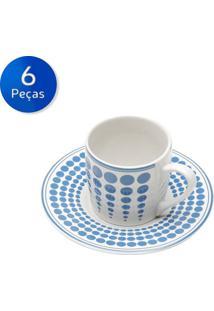 Conjunto De Xícaras Para Café Com Pires 6 Peças 90 Ml Blue Dots -Bon Gourmet - Azul