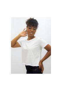 Camiseta Feminina T Shirt Cropped Lisa Edius Branca
