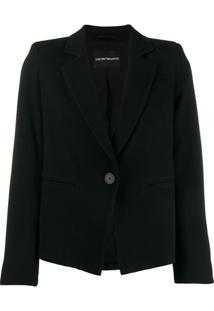 Emporio Armani Blazer Com Abotoamento Simples - Preto