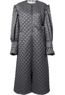 Off-White Quilted Long Coat - Cinza