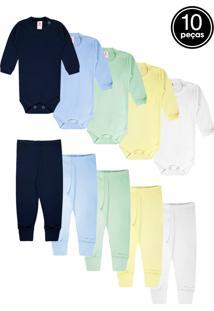 Kit 10Pçs Body Culote Zupt Baby Enxoval Azul Marinho