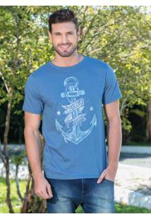 Camiseta Azul Com Estampa De Âncora
