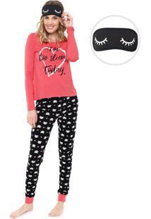 Pijama Malwee Liberta Sleepy Today Rosa/Preto