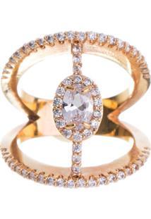 Anel Obietto Delicado Ouro Zirconia Cristal Oval Cravejado