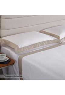 Fronha Hotel Com Pespontos- Branca & Bege- 70X50Cm