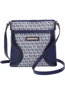 Bolsa Transversal Com Inscriã§Ãµes- Azul Marinho & Bege Clfellipe Krein