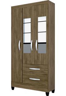 Guarda Roupa Real 3 Portas C/Espelho Mocaccino Rústico Atualle - Tricae