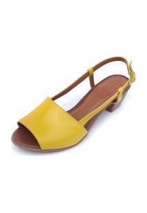 Sandália De Salto Em Couro Amo Calçados Mimi Amarela