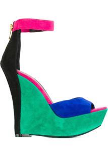 Balmain Sandália Color Block De Couro - Estampado