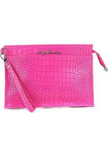 Bolsa Couro Luiza Barcelos Mini Bag Croco Feminina - Feminino-Rosa