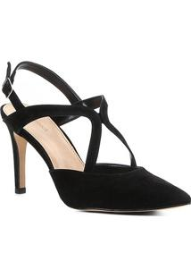 Scarpin Couro Shoestock Salto Alto Curvas - Feminino-Preto