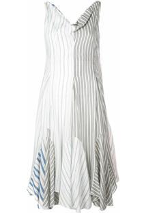Jw Anderson Vestido Listrado Com Barra Assimétrica - Branco