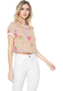 Blusa Cropped Enfim Floral Rosa