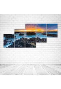 Quadro Decorativo - Nature Lake Sunset Landscape Ocean - Composto De 5 Quadros - Multicolorido - Dafiti