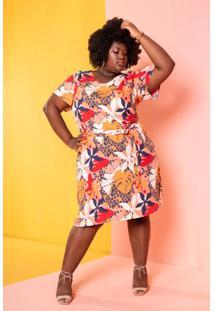 Vestido Tropicália Animal Print Plus Size