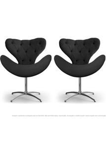 Kit De 02 Cadeiras Decorativas Poltronas Egg Com Capitonê Cinza Com Base Giratória
