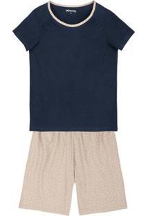 Pijama Em Malha De Algodão Com Shorts Estampado
