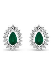 Brinco Gota Ouro Branco Esmeraldas E Diamantes