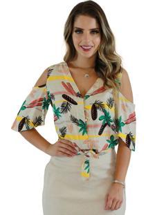 Blusa Mamorena Ombro Vazado Amarração E Botões Frente Multicolorido