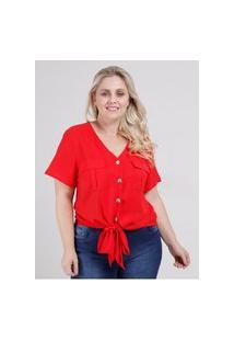Camisa Manga Curta Com Nó Plus Size Feminina Vermelho