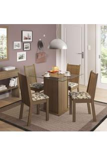Conjunto De Mesa Com 4 Cadeiras Lucy Rustic E Bege
