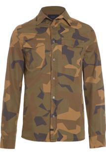 Camisa Masculina Paper Touch Geome Camo Print Overshirt - Verde