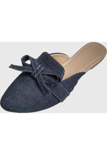 Mule Feminino Miss Confort Bico Fino Jeans - Kanui