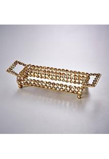 Bandeja Delicacy Delhi Dourada Em Ferro Fundido - 38X12,5 Cm