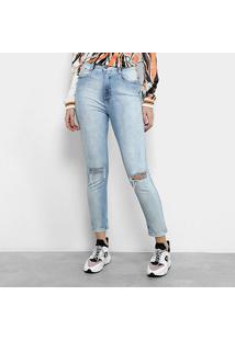 Calça Jeans Cigarrete Lança Perfume Puídos Cintura Alta Feminina - Feminino