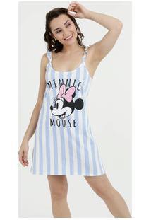 Camisola Feminina Listrada Minnie Alças Finas Disney