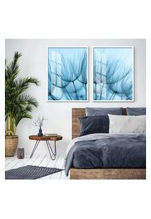Quadro 65X90Cm Dente De Leáo Flores Minimalista Tons Azuis Moldura Branca Decorativo Interiores