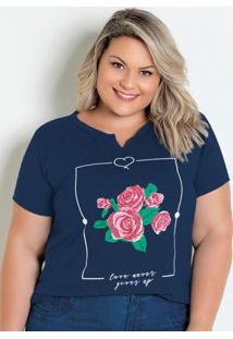 T-Shirt Marinho Com Estampa Floral Plus Size