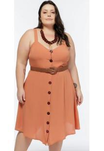 Vestido De Alça Plus Size Ferrugem Com Botões