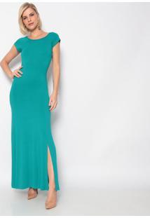 Vestido Longo Com Fenda- Verde- Vittrivittri