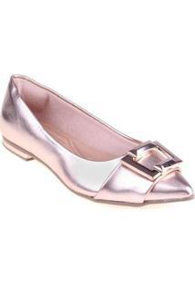 Sapatilha Shop Shop Shoes Verniz Feminina - Feminino-Dourado