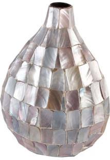 Vaso Decorativo De Madrepã©Rola Azul 44X24X33 Cm - Incolor - Dafiti