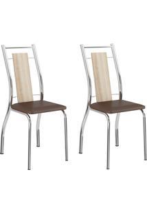 Kit 2 Cadeiras 1720 Anis/Cacau Cromado - Carraro Móveis