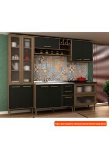 Cozinha Compacta Vitória Ii 9 Pt 5 Gv Preta E Avelã