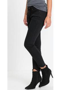 Calça Jeans Skinny Barra Destroyed Preta